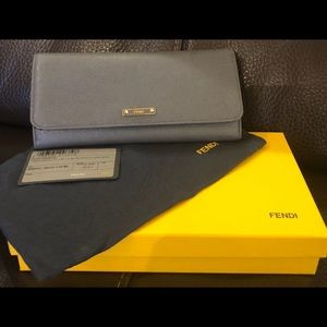 Gently used Fendi saffiano leather grey wallet